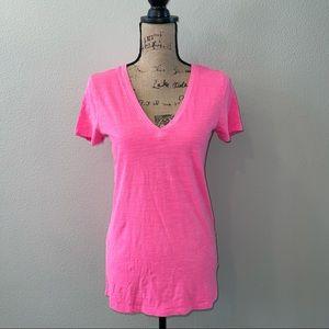 Merona Ladies' Short Sleeve V-Neck Top Neon Pink